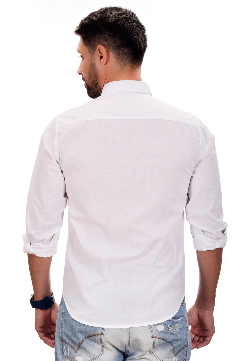 Camisa Social Hollister linho Branca  - Ca Brasileira
