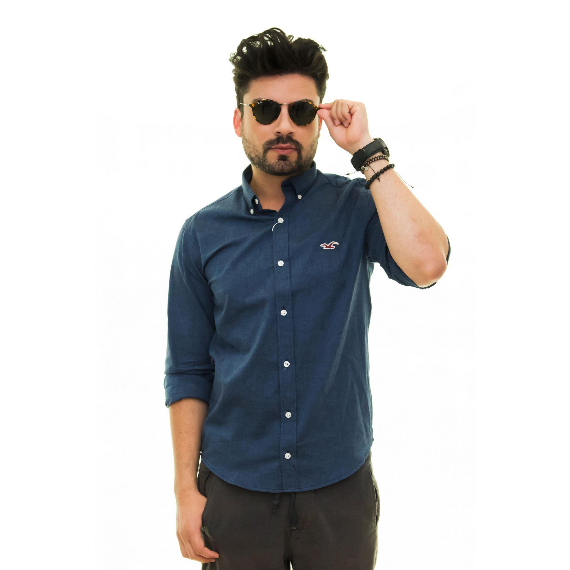 Camisa Social Hollister Oxford Marinho  - Ca Brasileira
