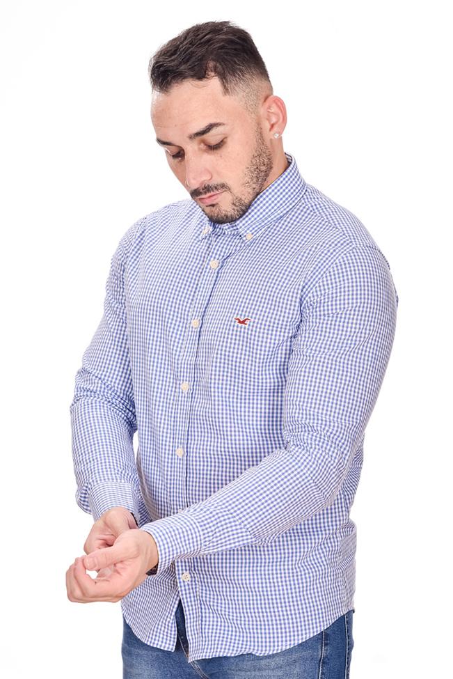 Camisa Social Hollister Xadrez Azul  - Ca Brasileira