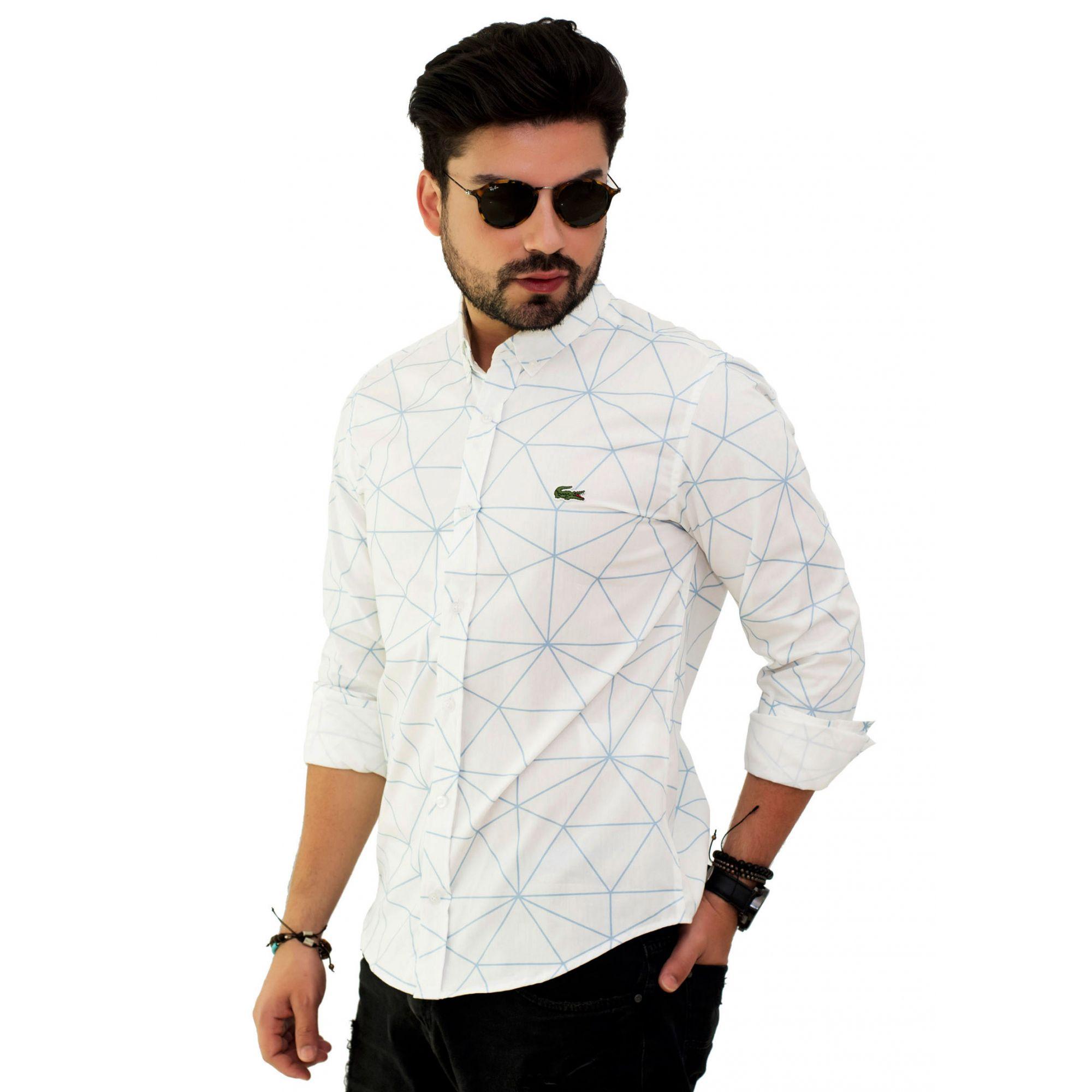 Camisa Social LCT Branca Desenho