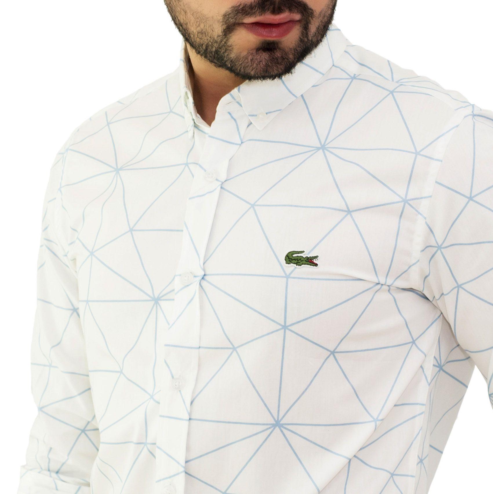 Camisa Social LCT Branca Desenho  - Ca Brasileira