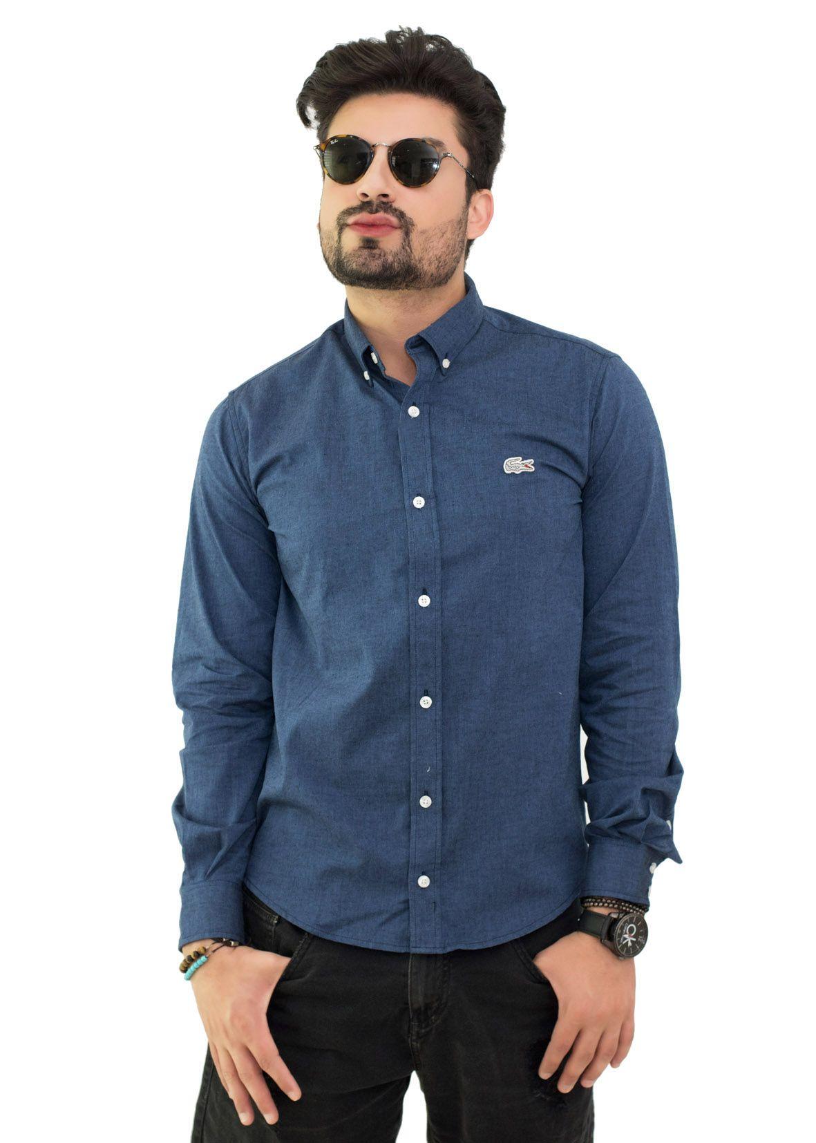 Camisa Social LCT Oxford Azul Marinho Mescla