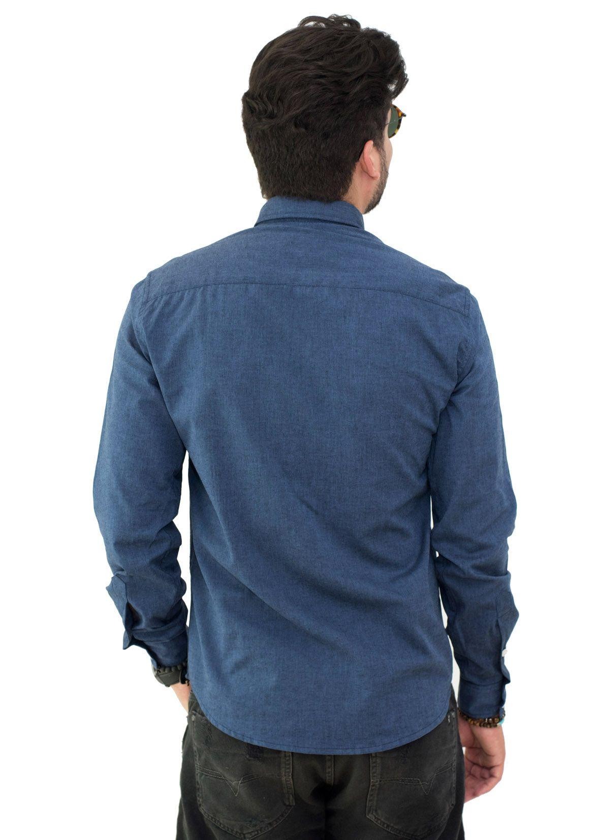 Camisa Social LCT Oxford Azul Marinho Mescla  - Ca Brasileira