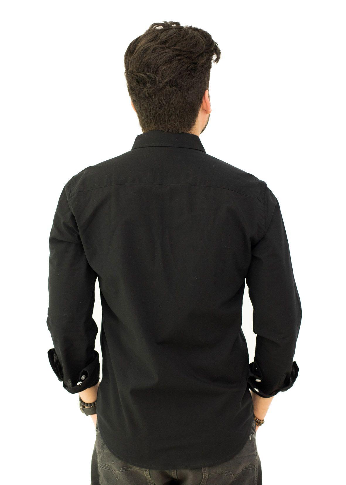 Camisa Social LCT Preta   - Ca Brasileira