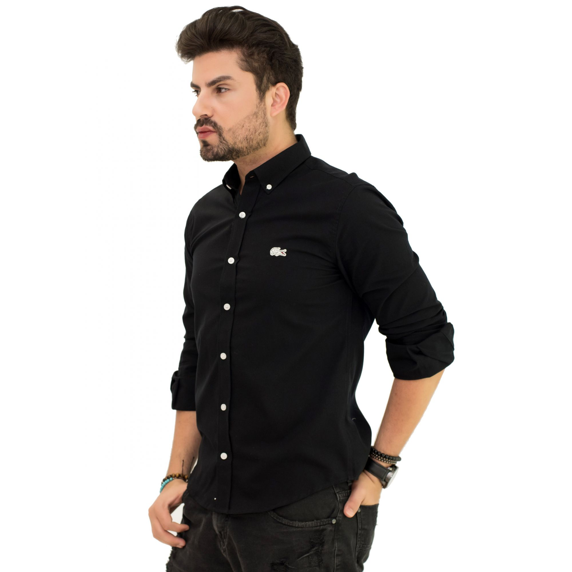 Camisa Social LCT Preta Oxford  - Ca Brasileira