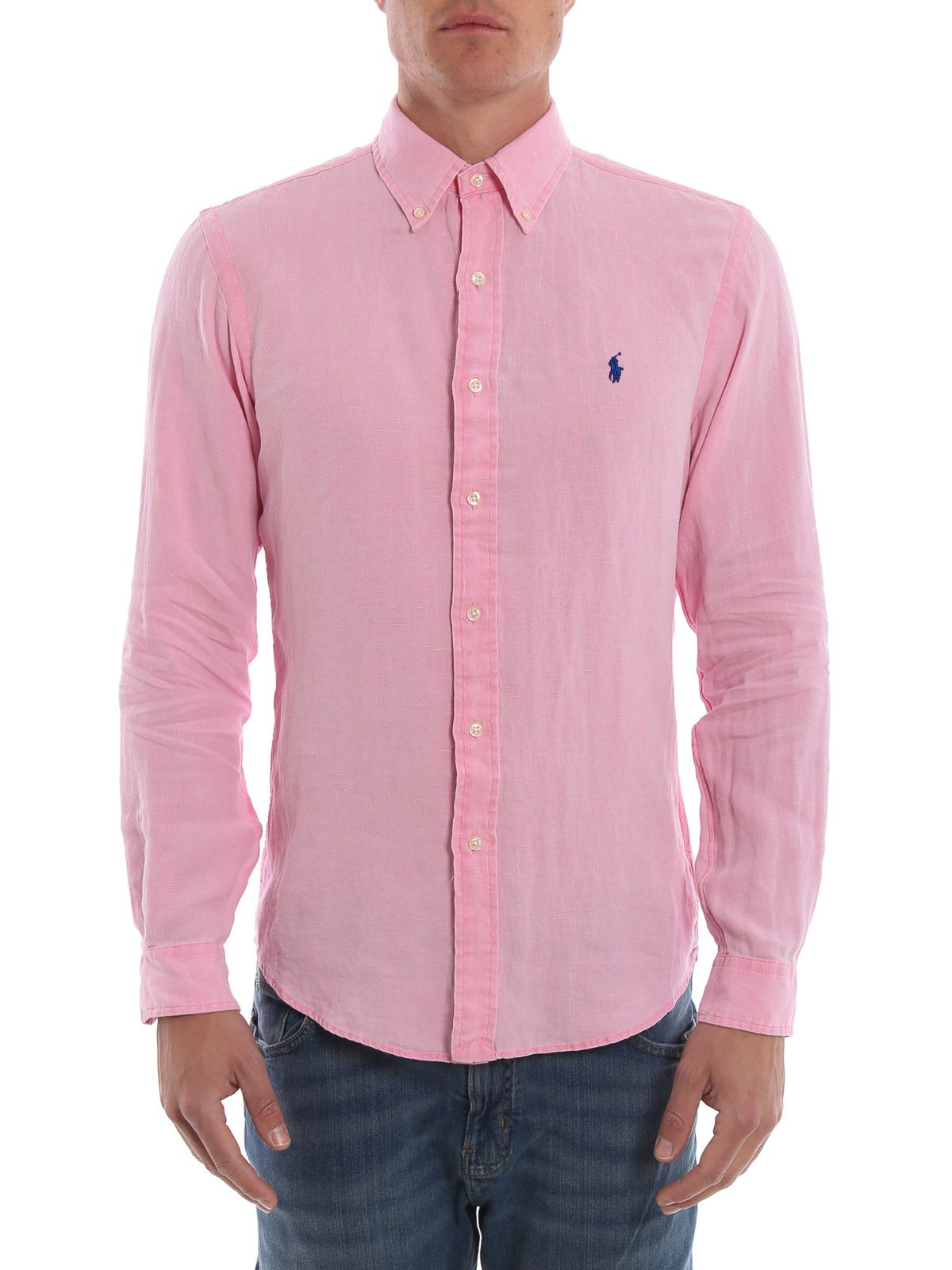 Camisa Social Linho RL Rosa