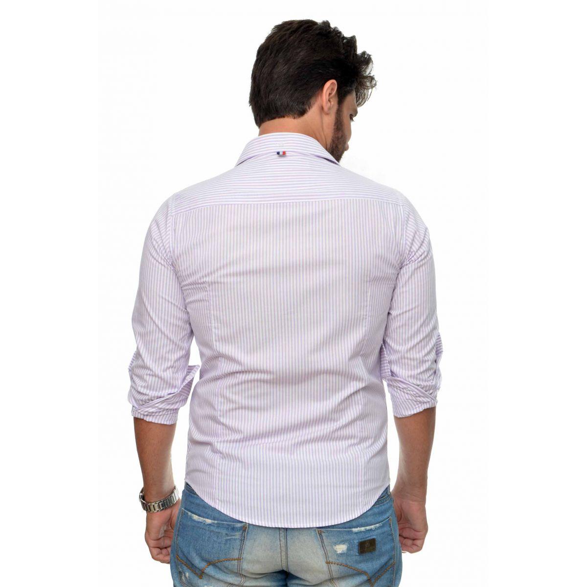 Camisa Social SK Listrada Lilas   - Ca Brasileira