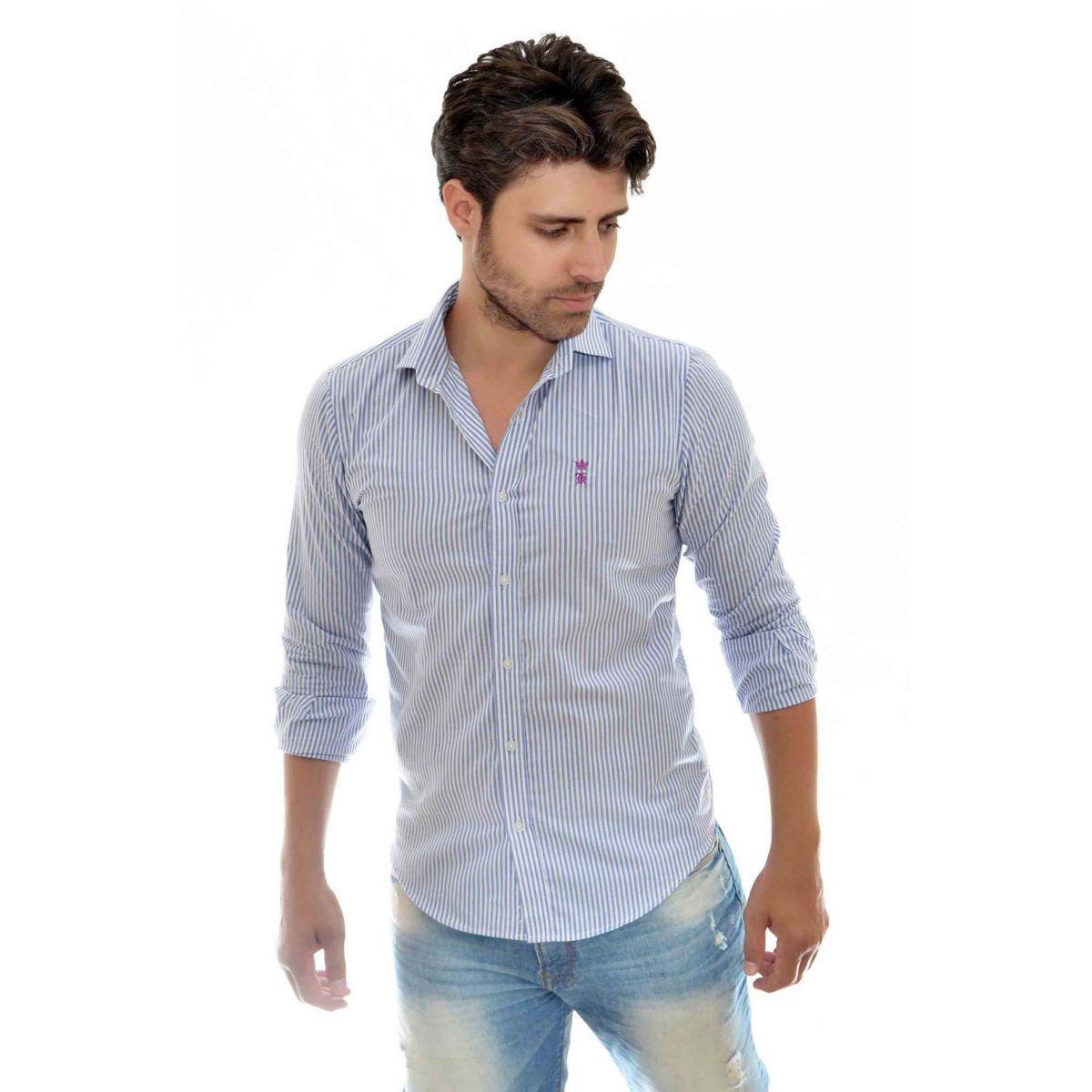 Camisa Social Listrada Azul Sergio K