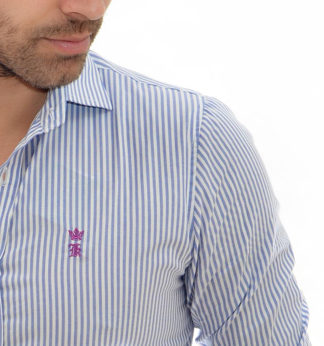 Camisa Social SK Listrada Azul   - Ca Brasileira
