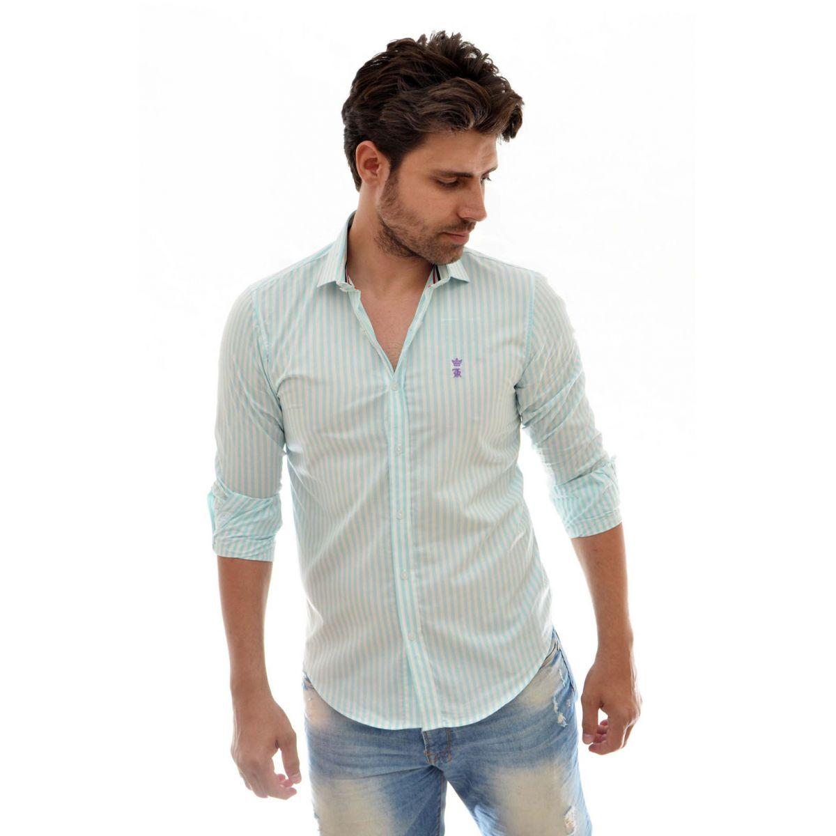 Camisa Social Listrada Verde Sergio K
