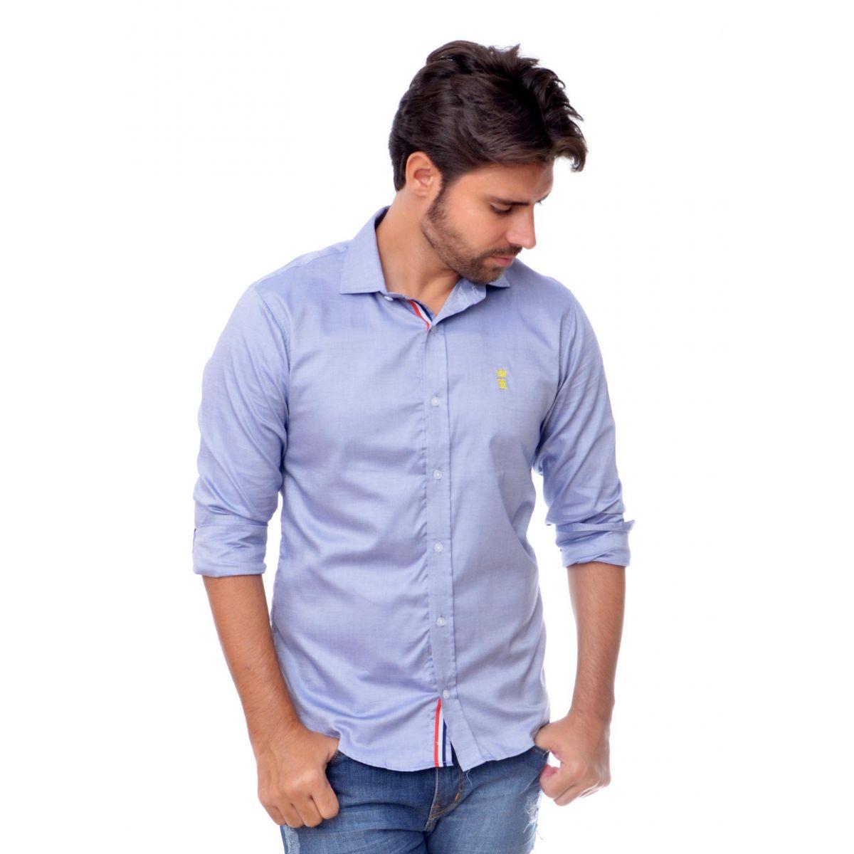 Camisa Social Oxford Azul Sergio K