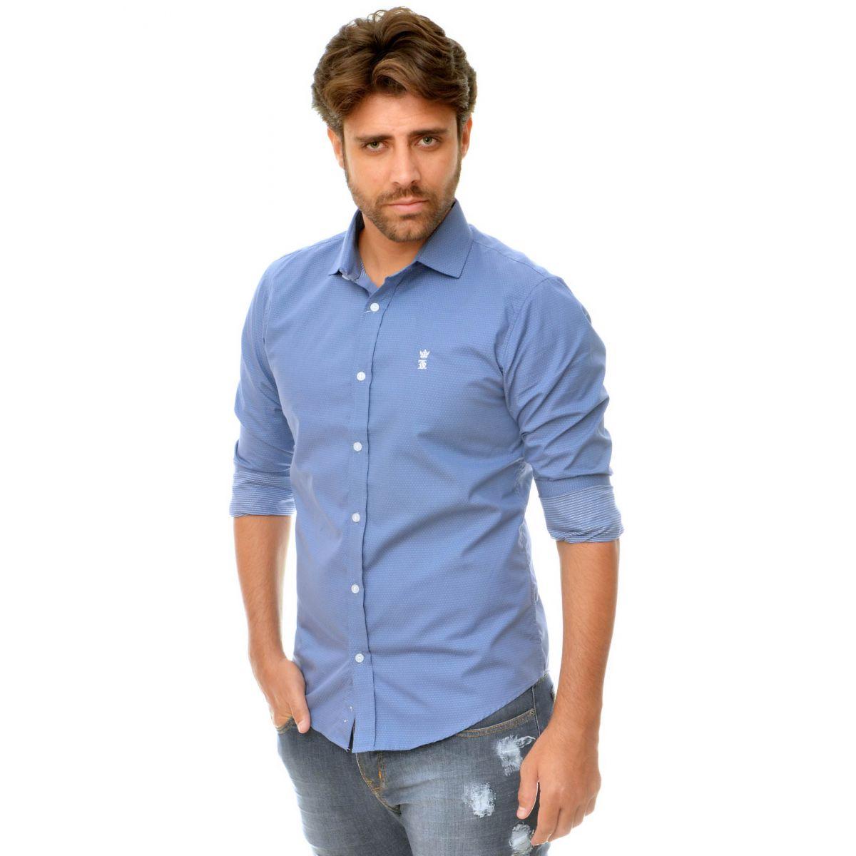 Camisa Social Poá  Azul Claro   - Ca Brasileira