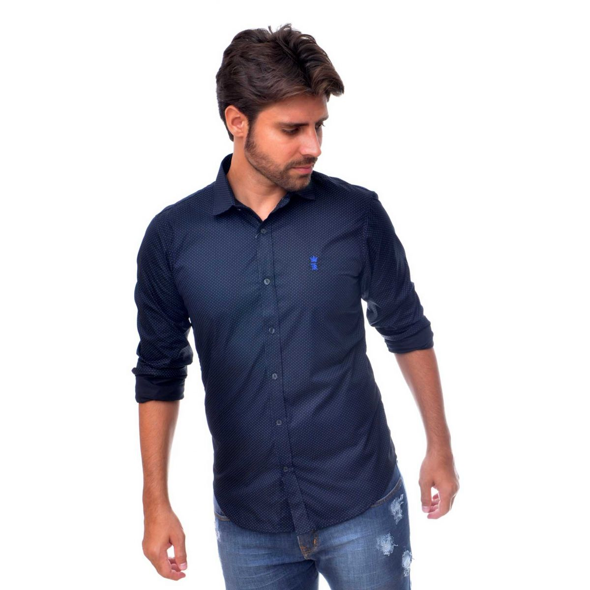 Camisa Social SK Poá verde  Preto