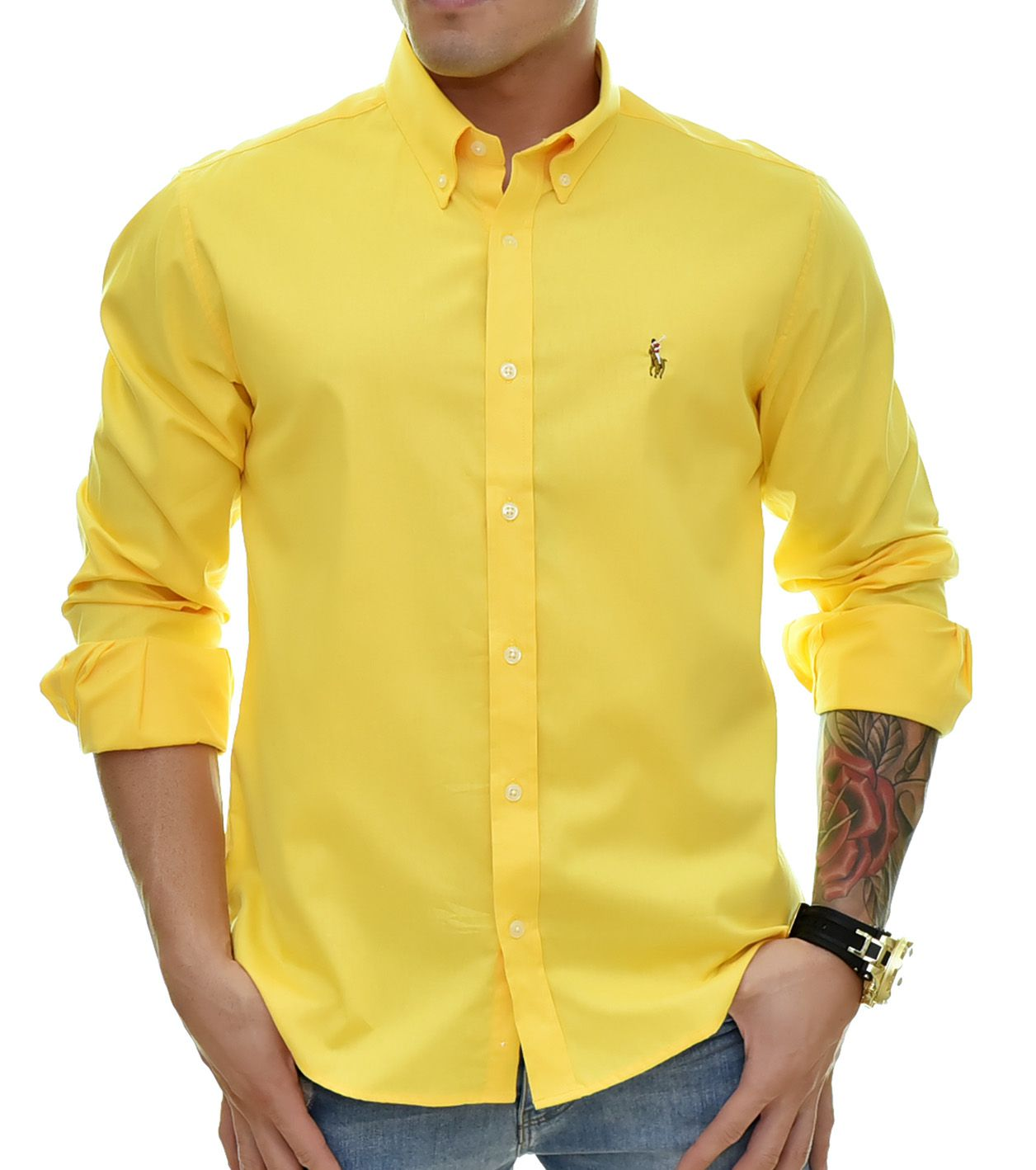 Camisa Social RL Amarela Colored - Custom Fit
