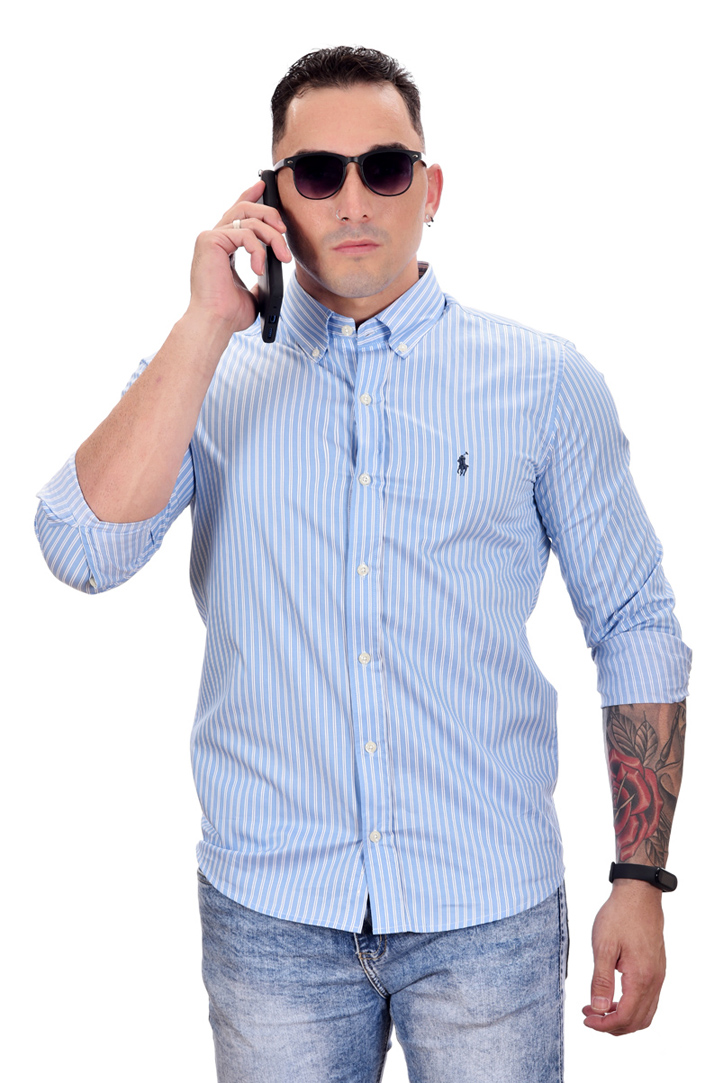 Camisa Social RL Azul Claro Listras P. Marinho  - Custom Fit  - Ca Brasileira