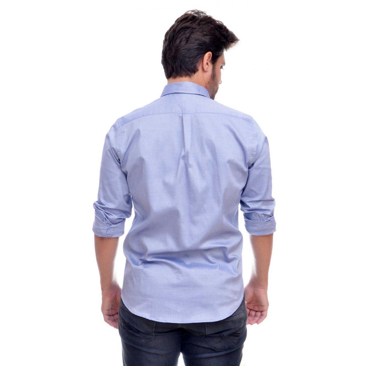 Camisa Social RL Oxford Azul Colored Regular Fit  - Ca Brasileira