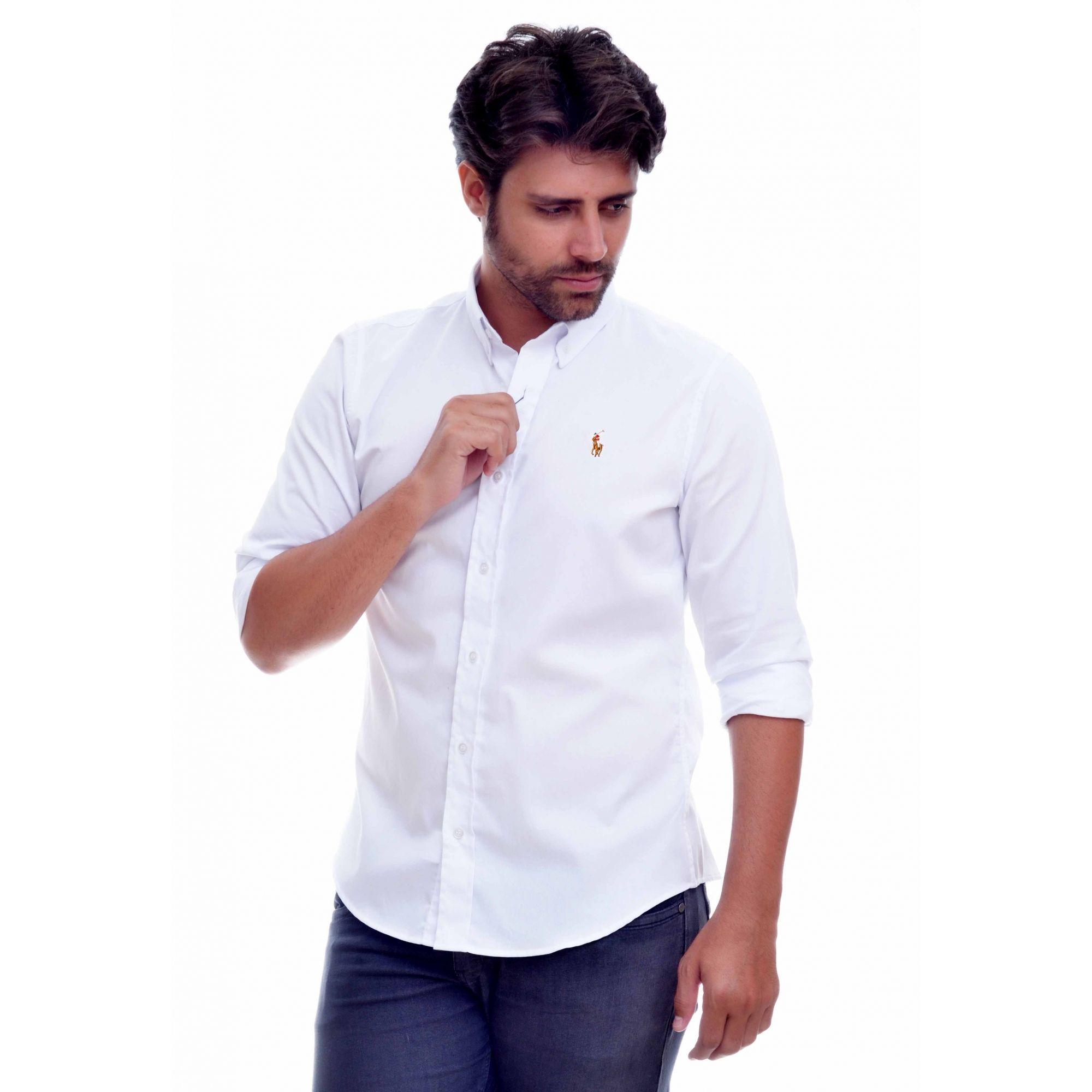 Camisa Social RL  Oxford Branco Colored - Custom Fit