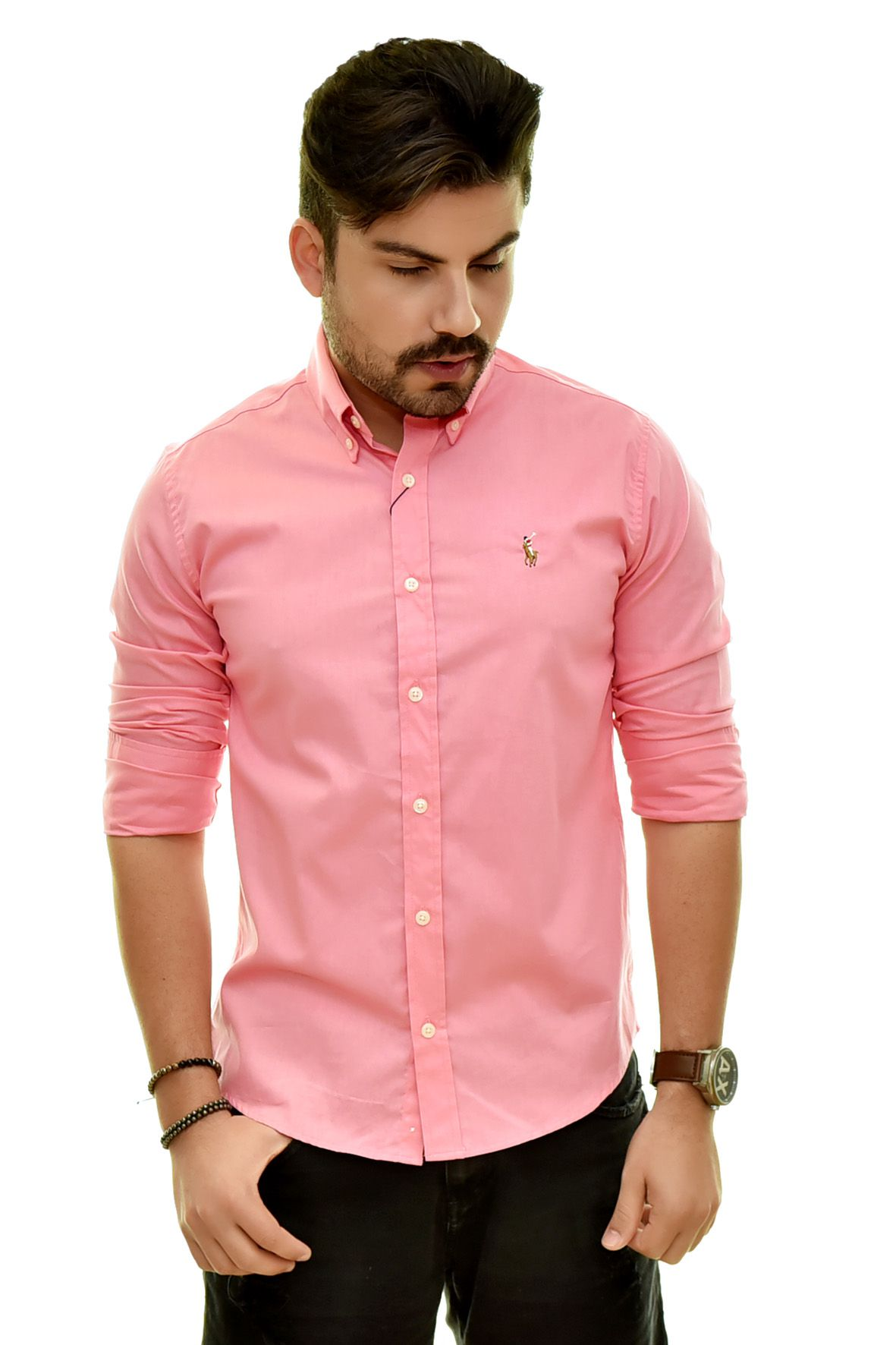 Camisa Social RL Coral Colored - Custom Fit