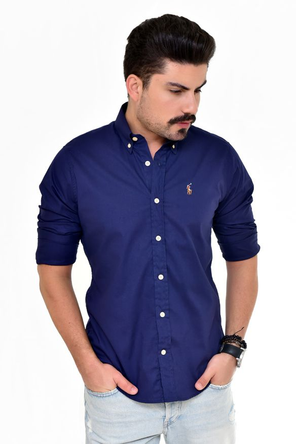 CAMISA SOCIAL RL MARINHO COLORED - CUSTOM FIT