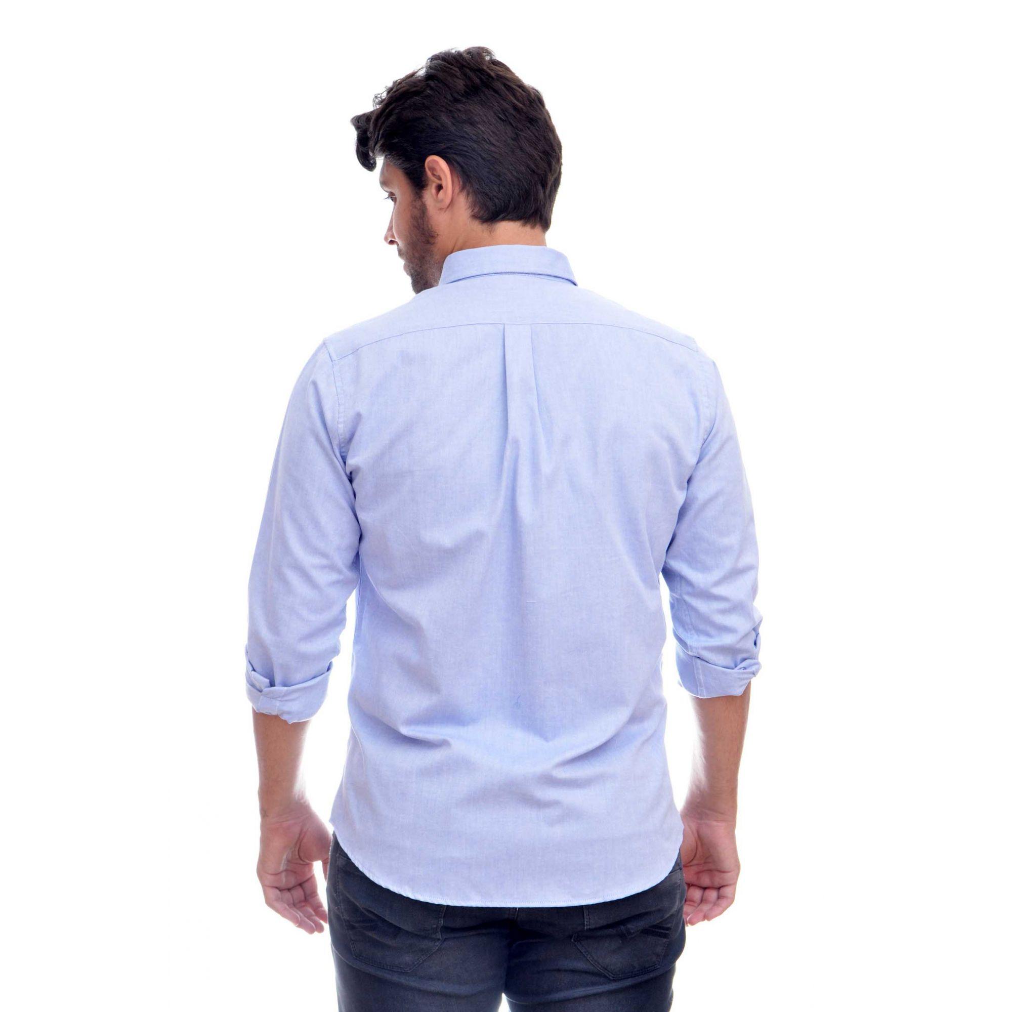 Camisa Social RL Oxford Azul Claro Colored  - Ca Brasileira