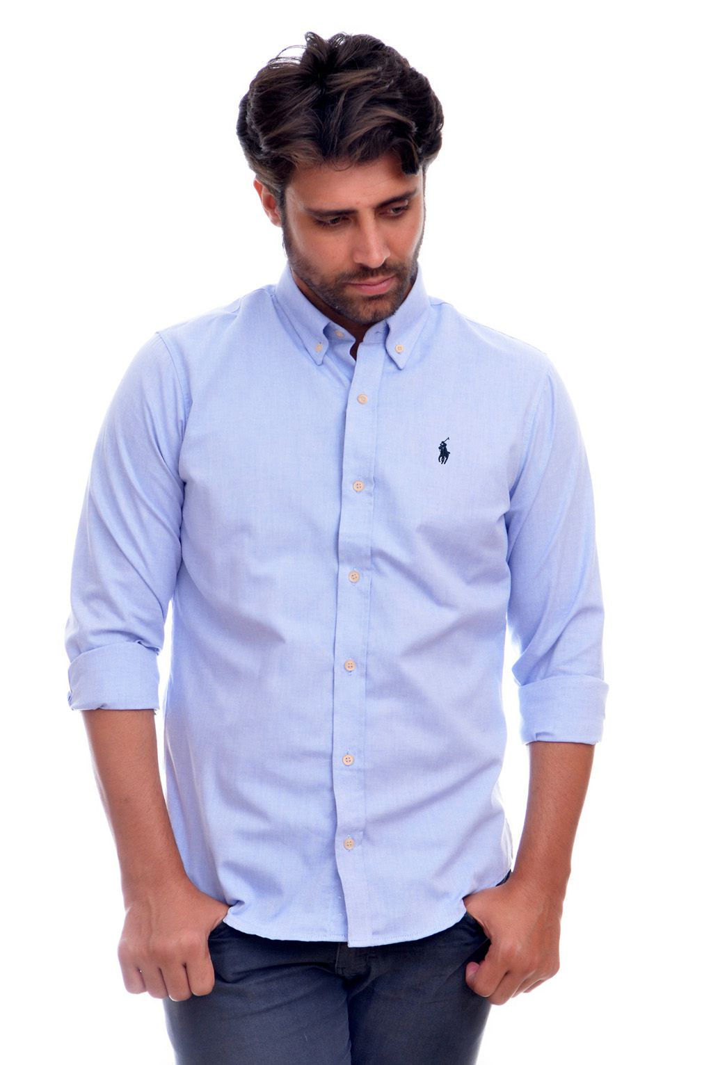 CAMISA SOCIAL RL OXFORD AZUL CLARO MR - Custom Fit