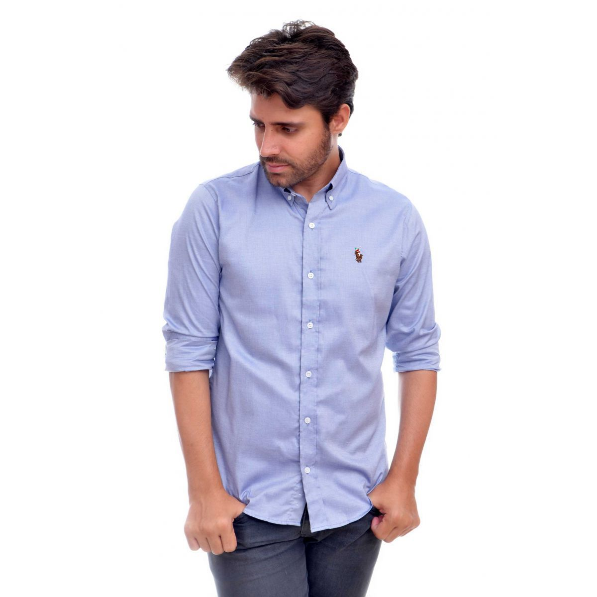 Camisa Social RL Oxford Azul Colored Regular Fit