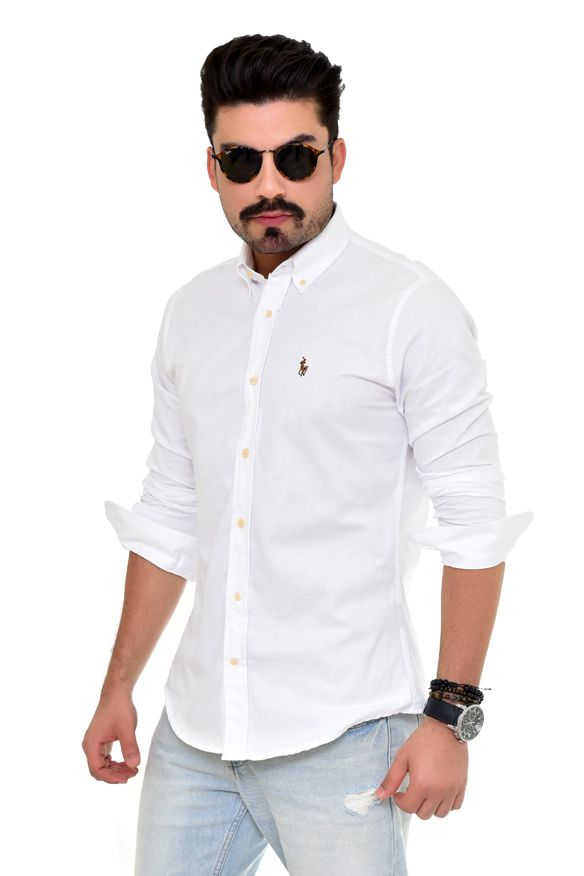 Camisa Social RL  Oxford Branco Colored - Custom Fit