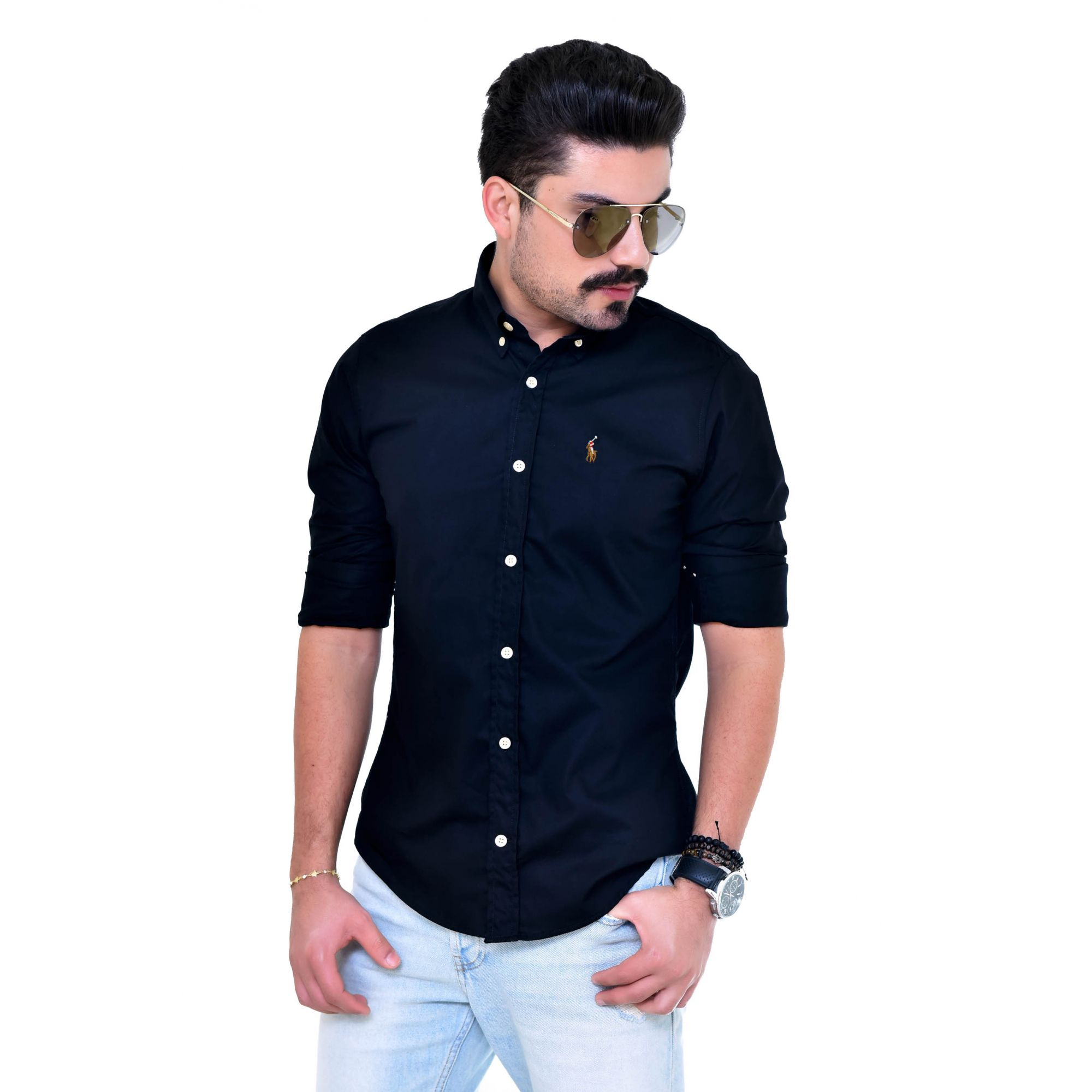 Camisa Social RL  Preta Colored - Custom Fit