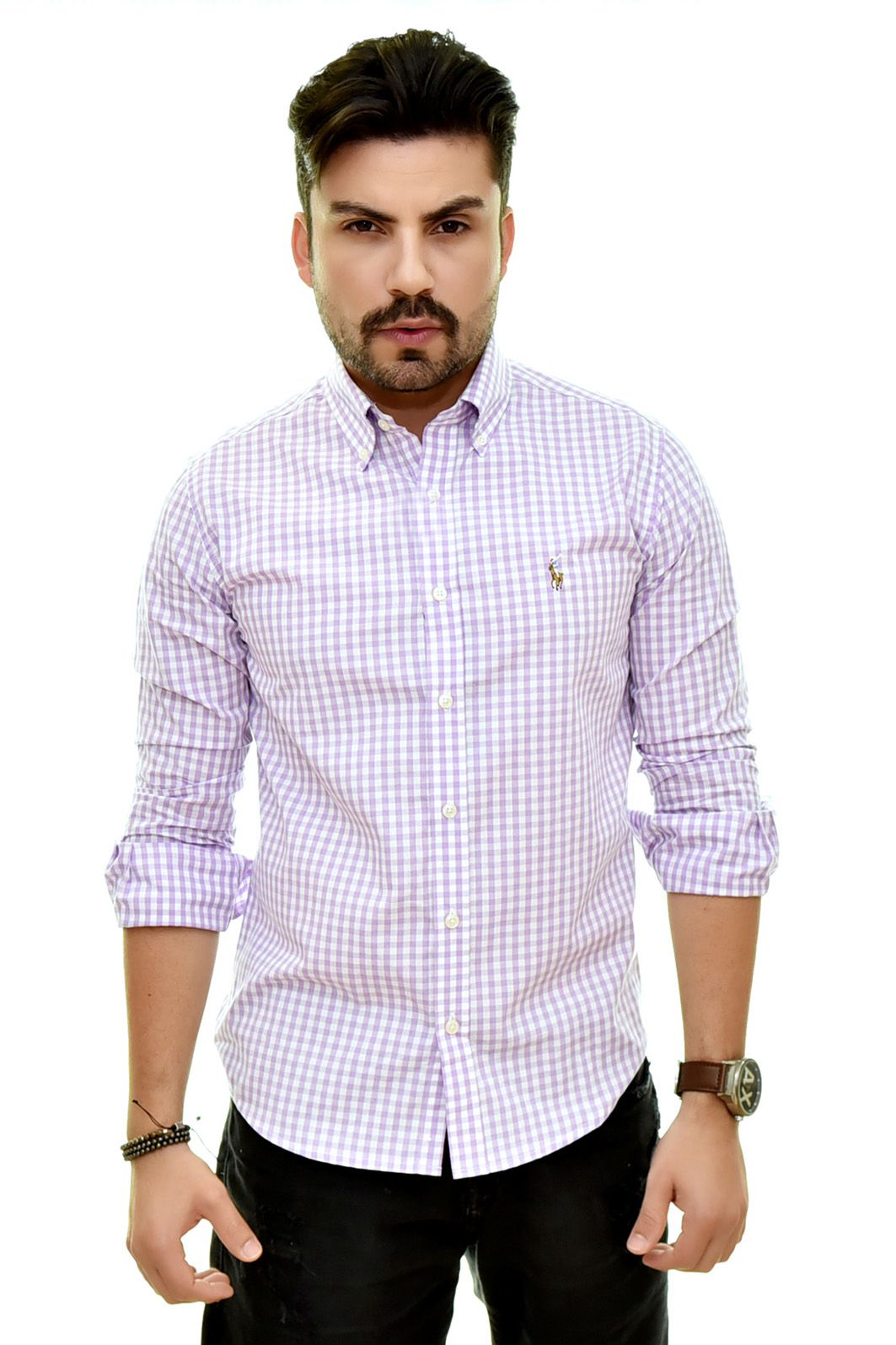 Camisa Social RL Xadrez Lilas Colored - Custom Fit