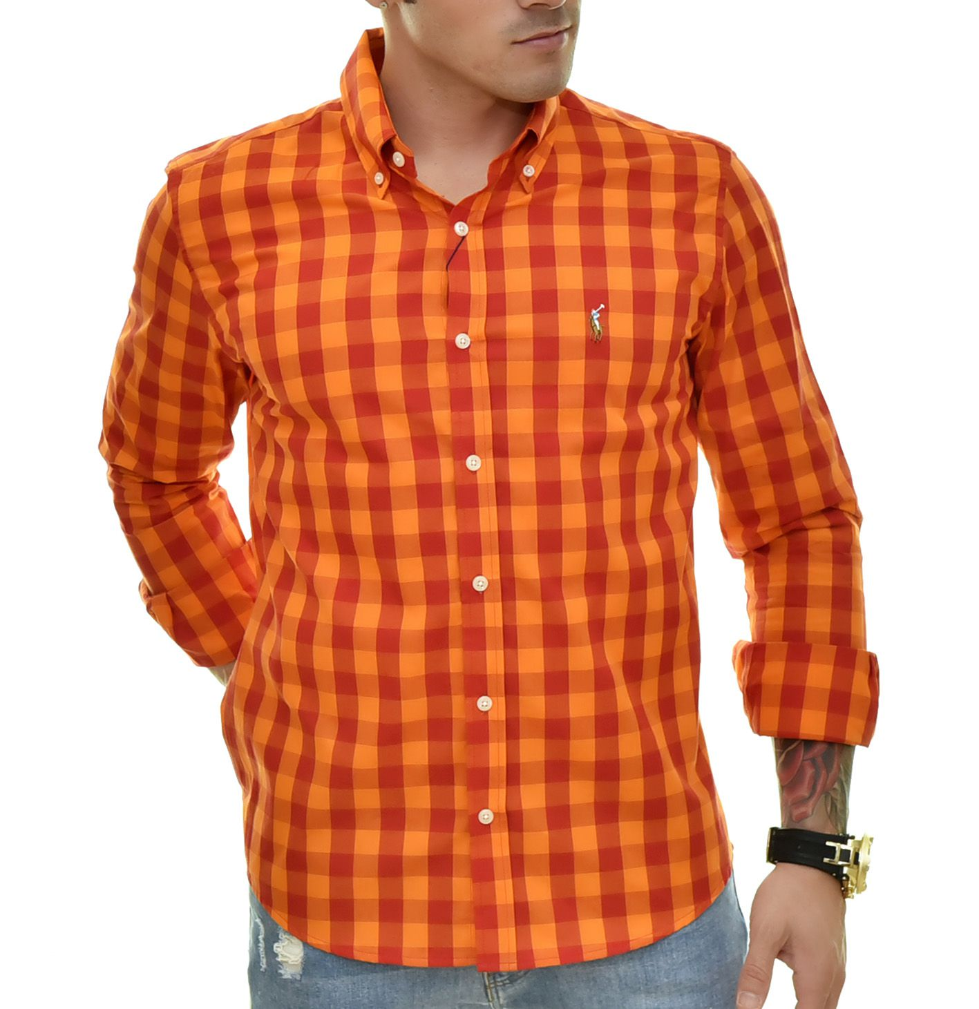 Camisa Social RL Xadrez LRJ-VRM Colored - Custom Fit  - Ca Brasileira