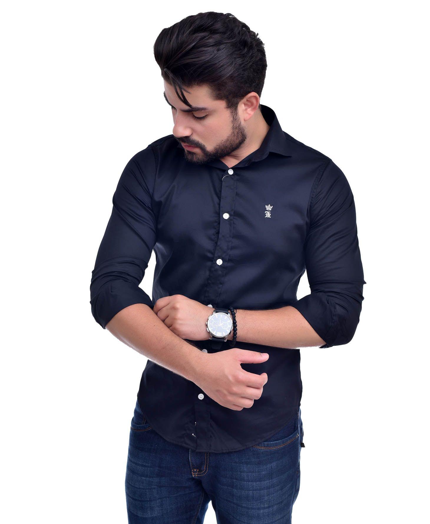Camisa Social Sergio K Preta Acetinada