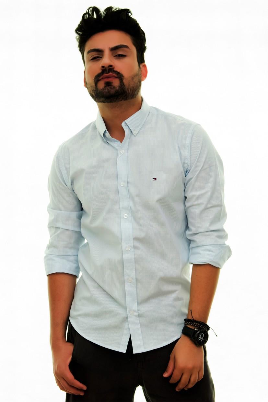 Camisa Social TH Listrada Azul Claro