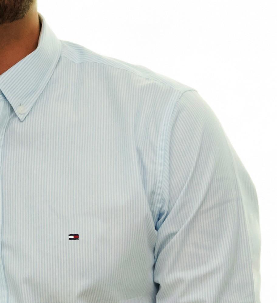Camisa Social TH Listrada Azul Claro  - Ca Brasileira