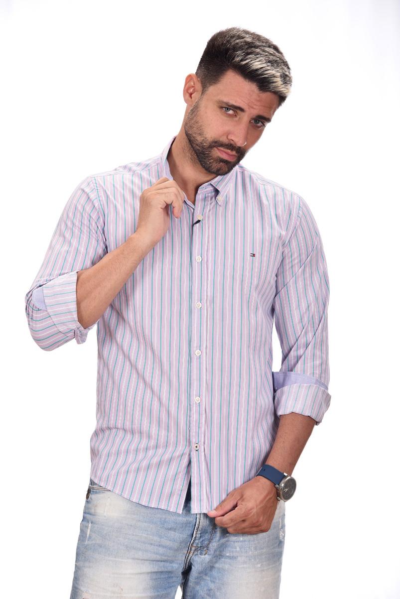 Camisa Social TH Listras Lilas  - Ca Brasileira