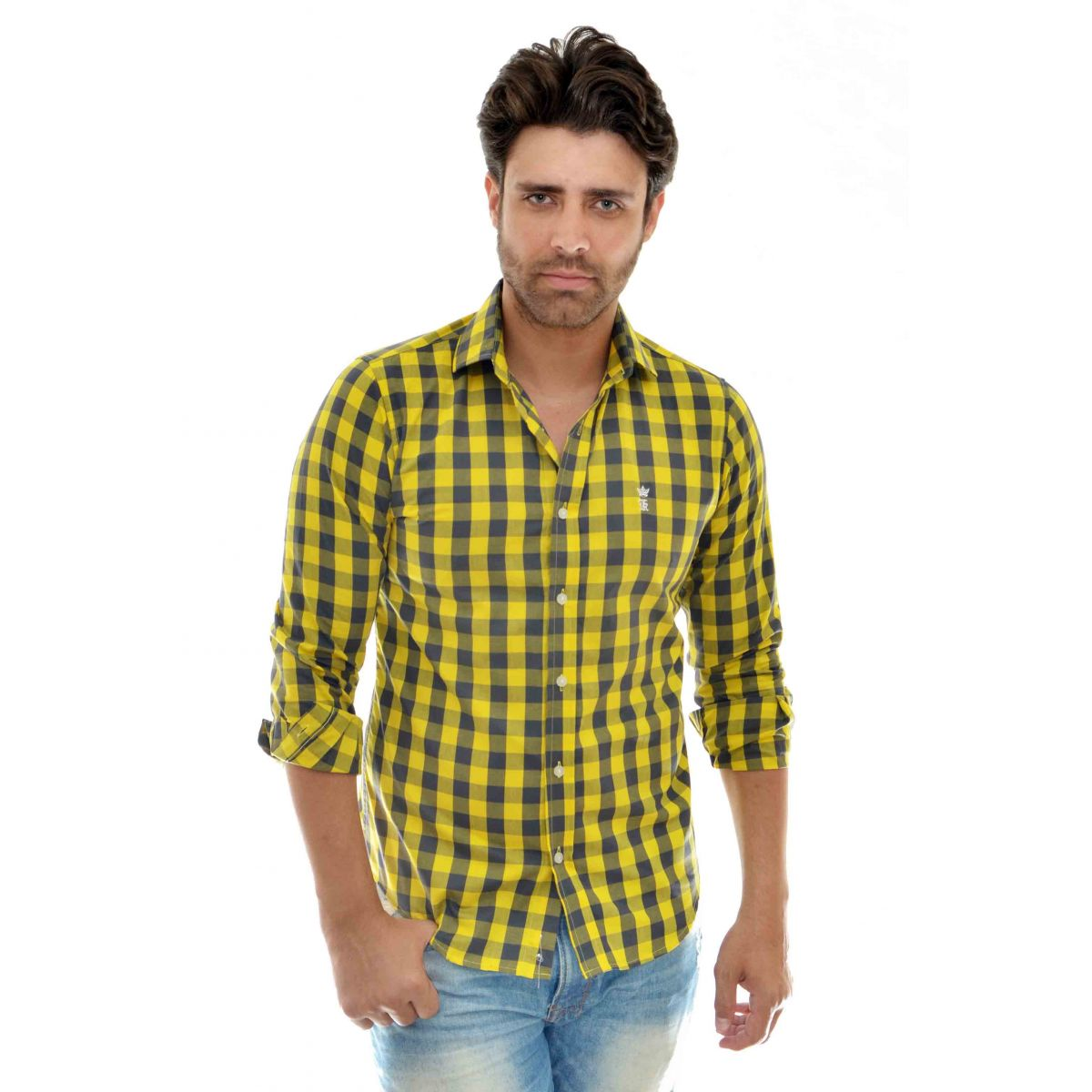 Camisa Social Xadrez Amarela SK