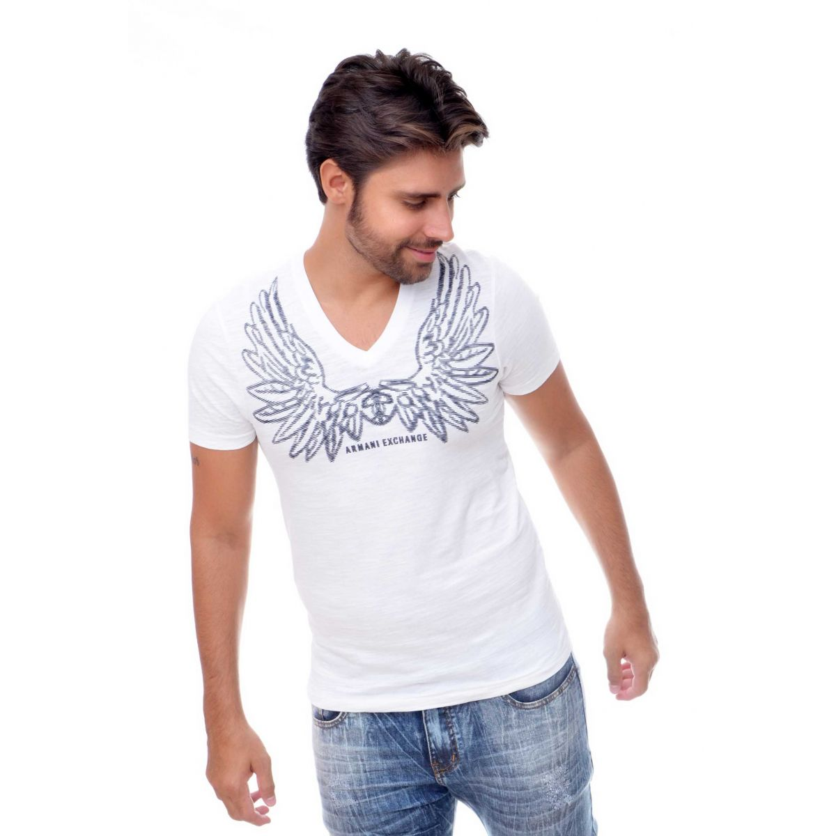 Camiseta Flame Armani Exchange  Eagle Branca
