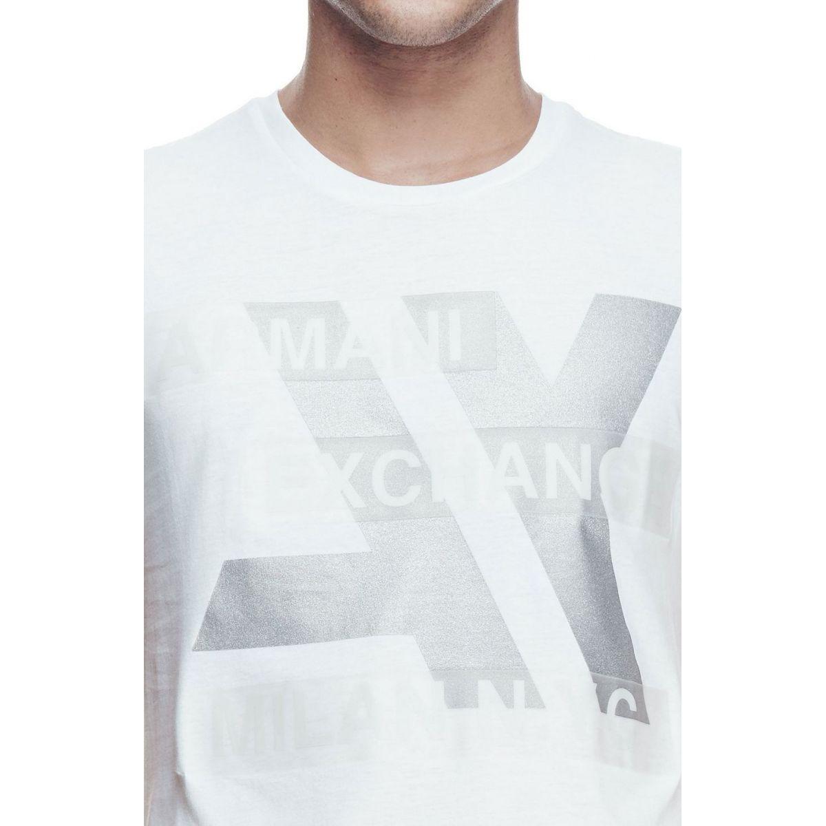 Camiseta Armani Exchange Hi Tech logo Branca  - Ca Brasileira