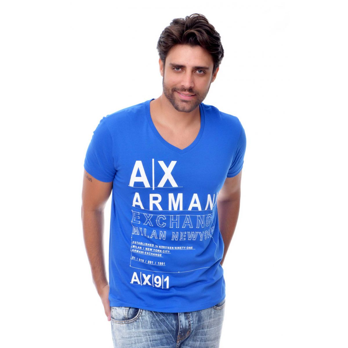 Camiseta Armani Exchange  Logo Detail Azul