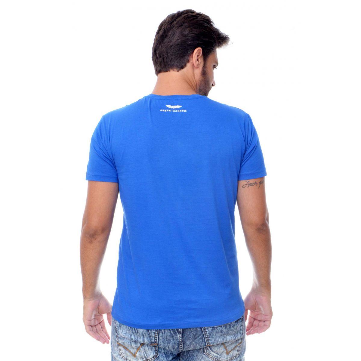 Camiseta Armani Exchange  Logo Detail Azul  - Ca Brasileira