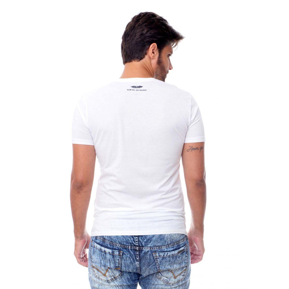 Camiseta Armani Exchange  Logo Detail Branca  - Ca Brasileira