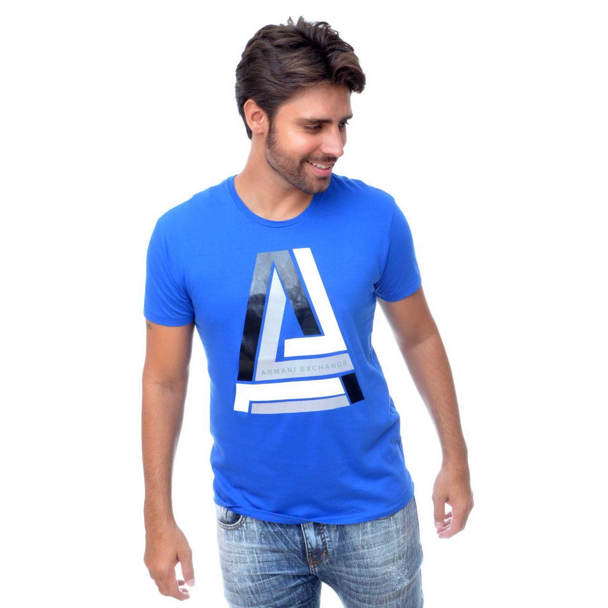 Camiseta Armani Exchange Logo X Azul