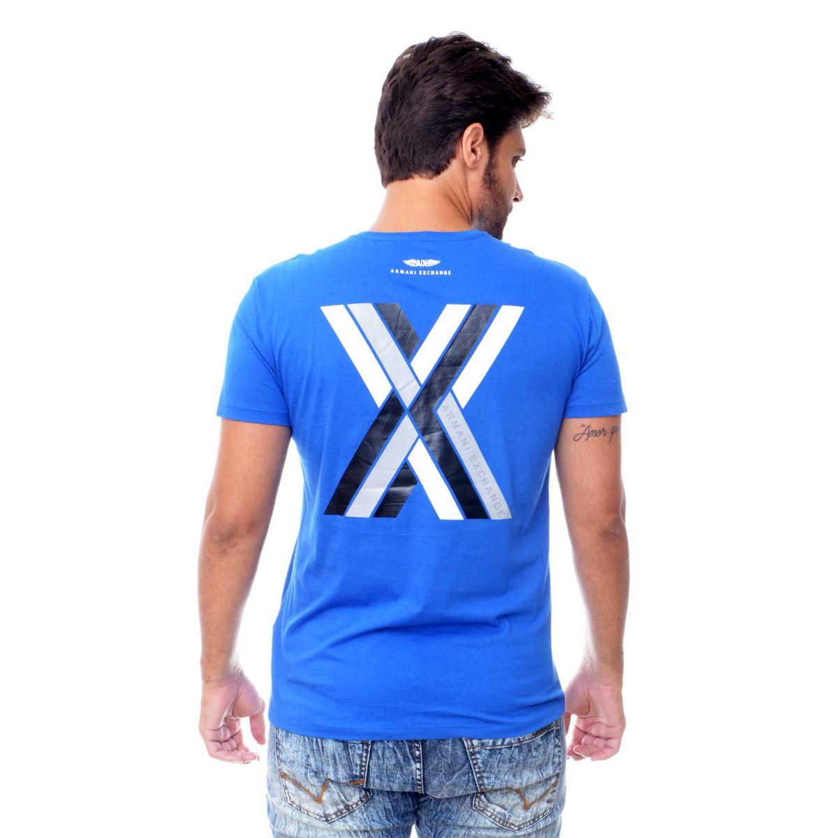 Camiseta Armani Exchange Logo X Azul  - Ca Brasileira