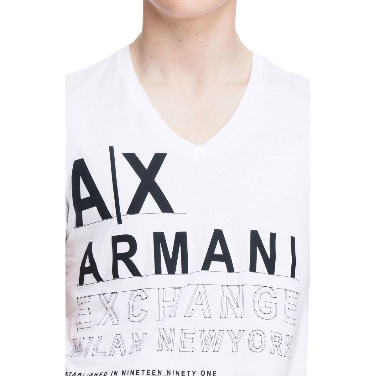 Camiseta Armani Exchange Set Logo Branca  - Ca Brasileira