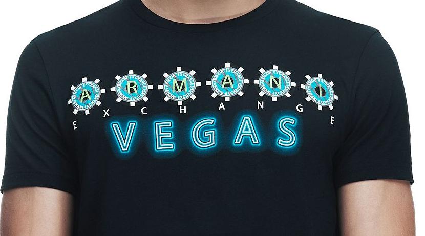 Camiseta Armani Exchange Vegas Preta  - Ca Brasileira