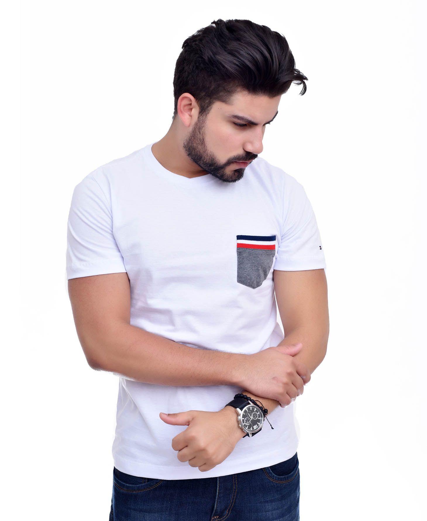 Camiseta Bolso TH Branco / Mescla Escuro