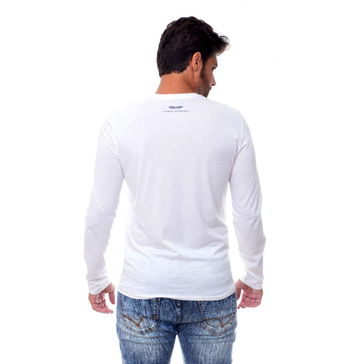 Camiseta Manga longa Armani Exchange Box Branca  - Ca Brasileira