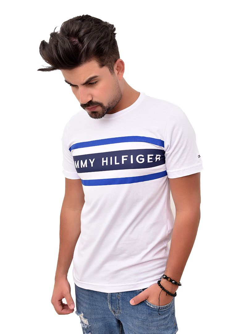Camiseta TH Branca Lines Azul