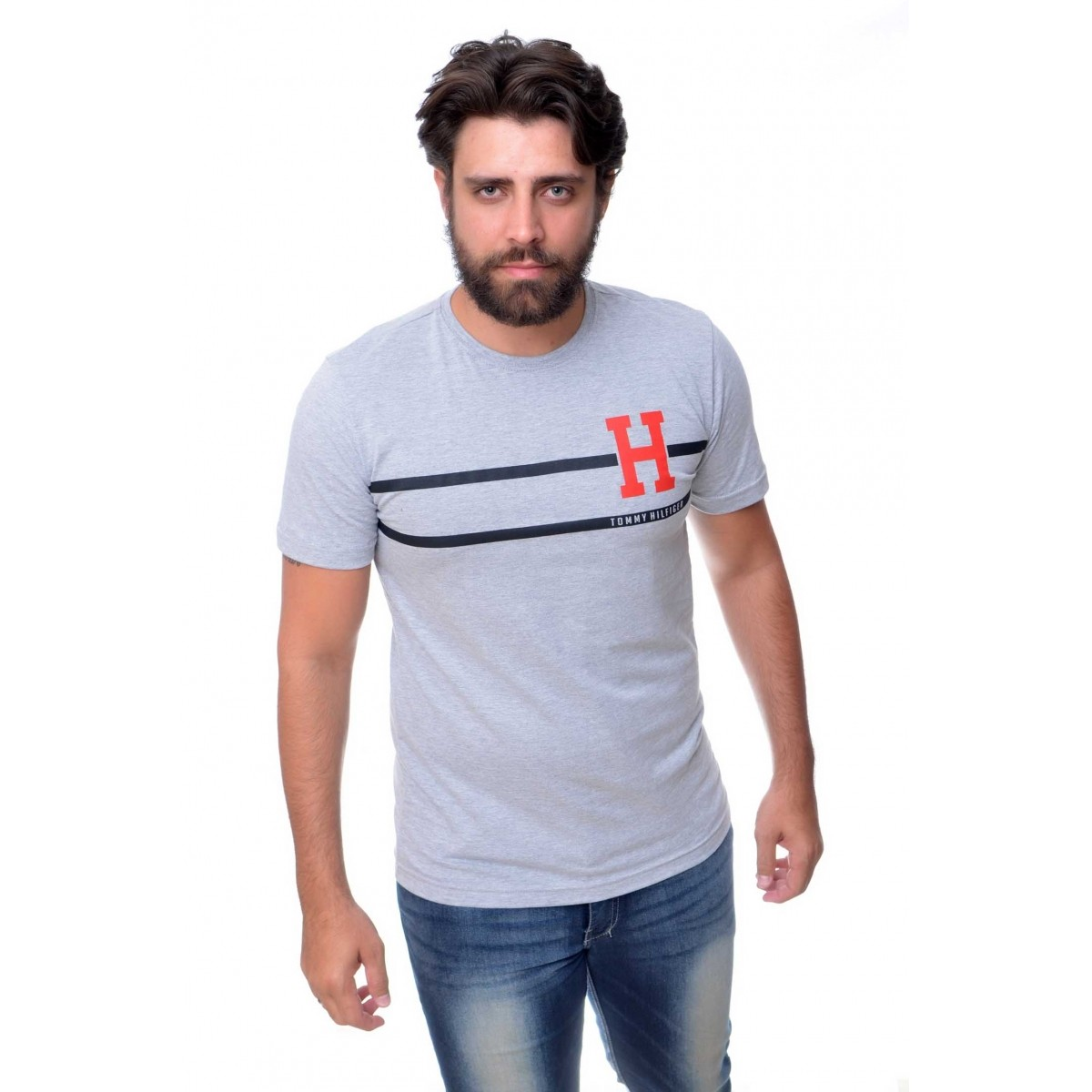 Camiseta TH Stripe Mescla Cinza