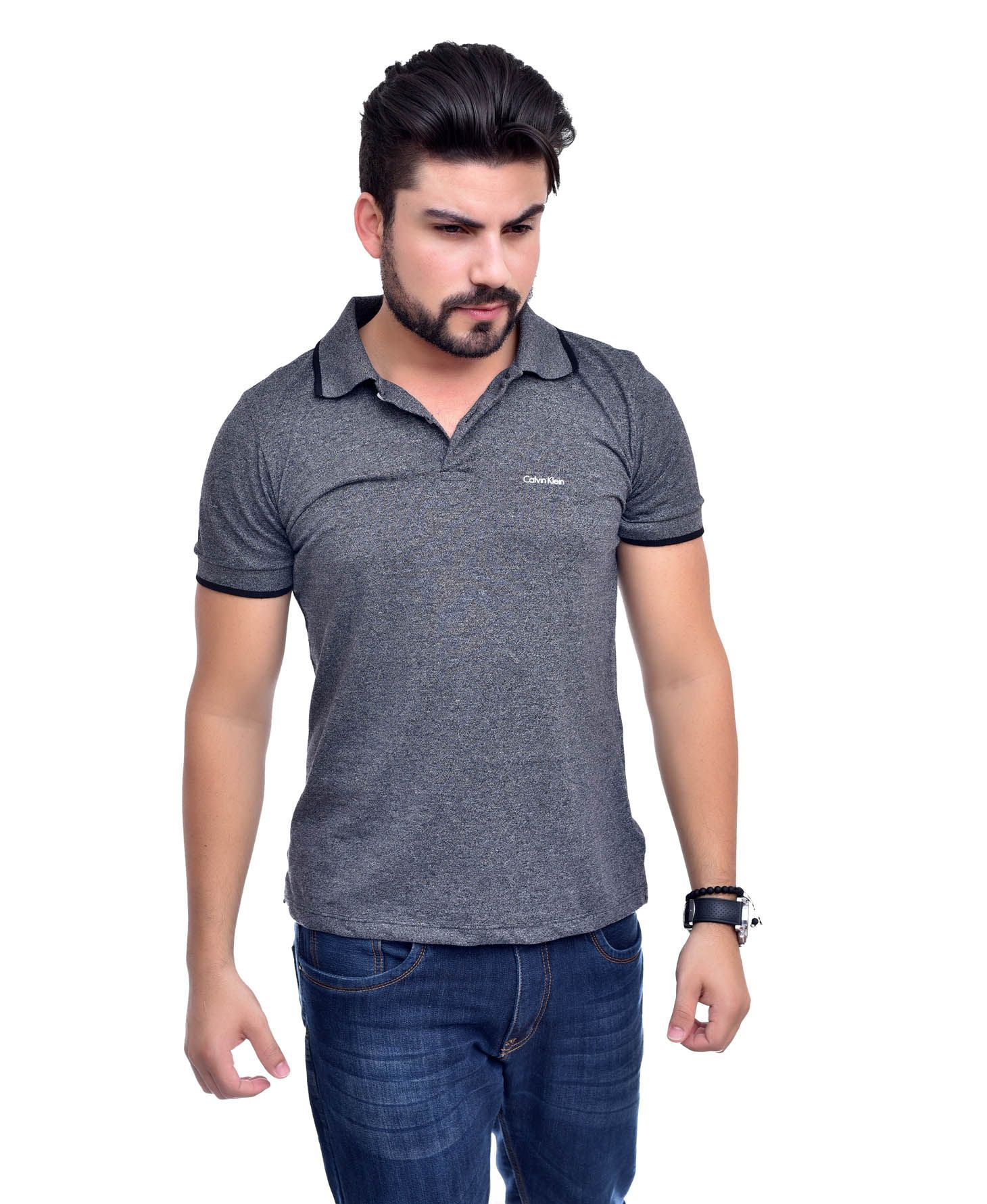 Polo Basic Ck Mescla Escuro - Ultra Slim Fit