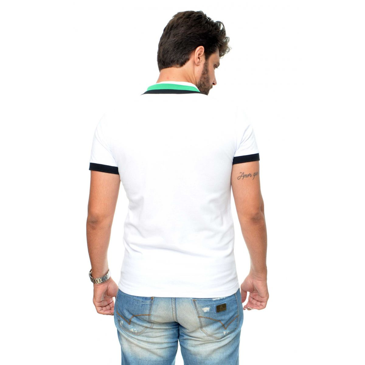 POLO FRED PERRY  TWIN TIPPED BRANCA  - Ca Brasileira